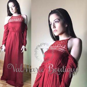 Brick Red Crochet Accent Cold Shoulder Maxi Dress